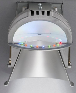This section shows the arrangement of the mixing chamber, LEDs and lower reflector.