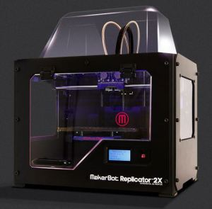 The MakerBot 2X. Again a brochure image, simply because it is a cleaner image than the one I would get from my messy office space.