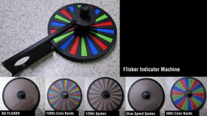 This little spinning wheel tells the story. If you see banding and colorful rainbows, the lights are a flickerin'