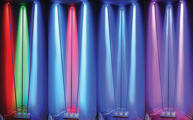 Fan arrangement, set into a corner with RGB and blue color modes. These can also be cycled or left static.