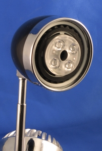 The lighting head uses an LED MR16 lamp for its optic and driver components
