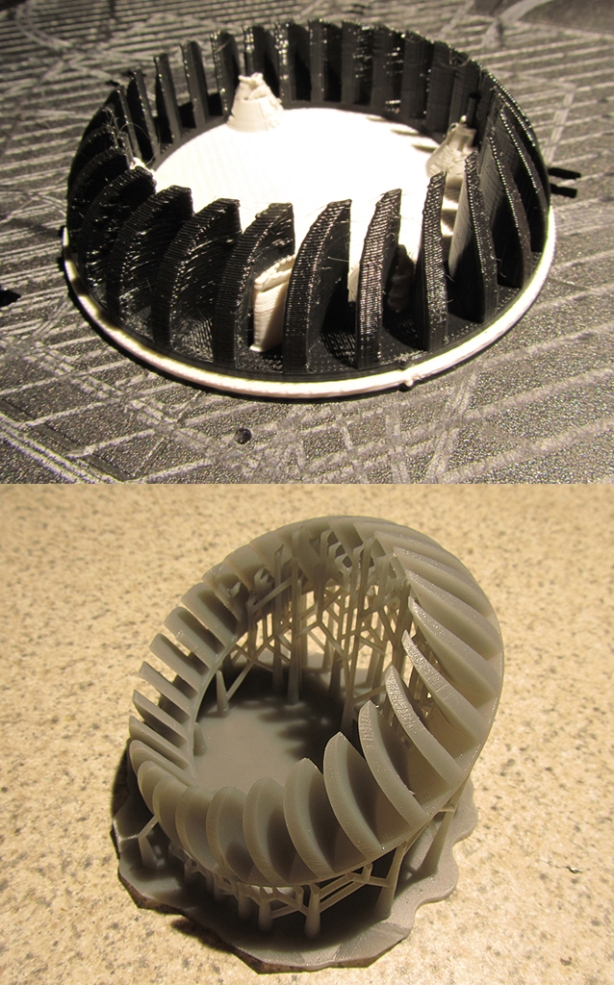 While FDM 3D printed parts (top_ are strong and easily finished, in fineer detail work, they lack fidelity and smoothness. The SLA (bottom) part is much smoother, requiring less finish work, but are less durable. In this case, the FDM is printed at its finest setting, the SLA at its coursest, so the contrast here is greater when the SLA is pressed to maximize reolution. Both took 2.5 hours to print.